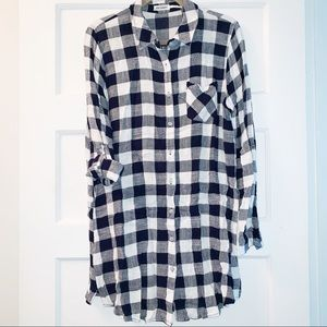 Blu Pepper Button Down Tunic- Navy and White Check